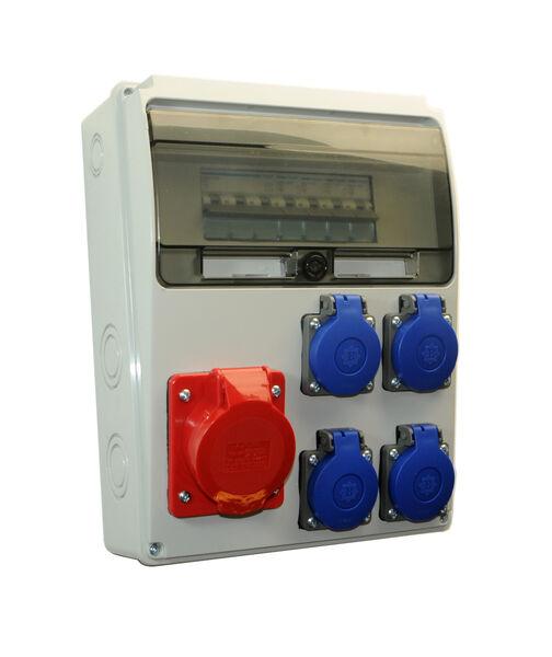 1 x CEE 16A//400V Baustromverteiler HAGER FI+LS 3 x 230V//16A 1 x CEE 32A//400V