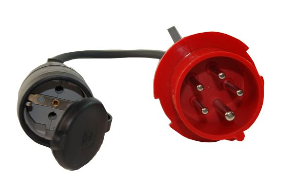 CEE Adapter 16 A 400V Stecker Starkstrom auf 230V Schuko Kupplung H07RN-F 3G2,5