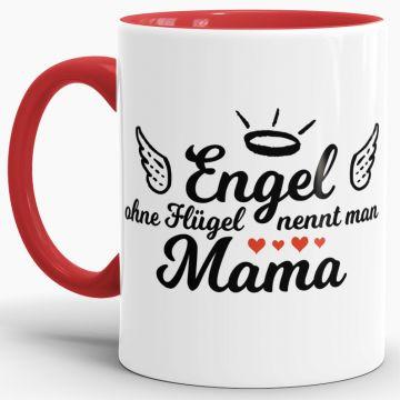 """Muttertag SCHWARZ-WEISSE Tasse /""""Engel ohne Flügel nennt man Mama/"""" Kaffeetasse"""