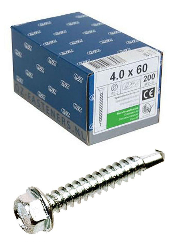QZ Selbstbohrende Schrauben Sechskant DIN7504K Stahl gehärtet verzinkt Schraube