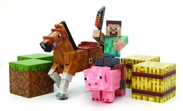 Minecraft Spielset Sattel Pack Sammelfugur Steve Pferd Schwein - Minecraft pferde spiele