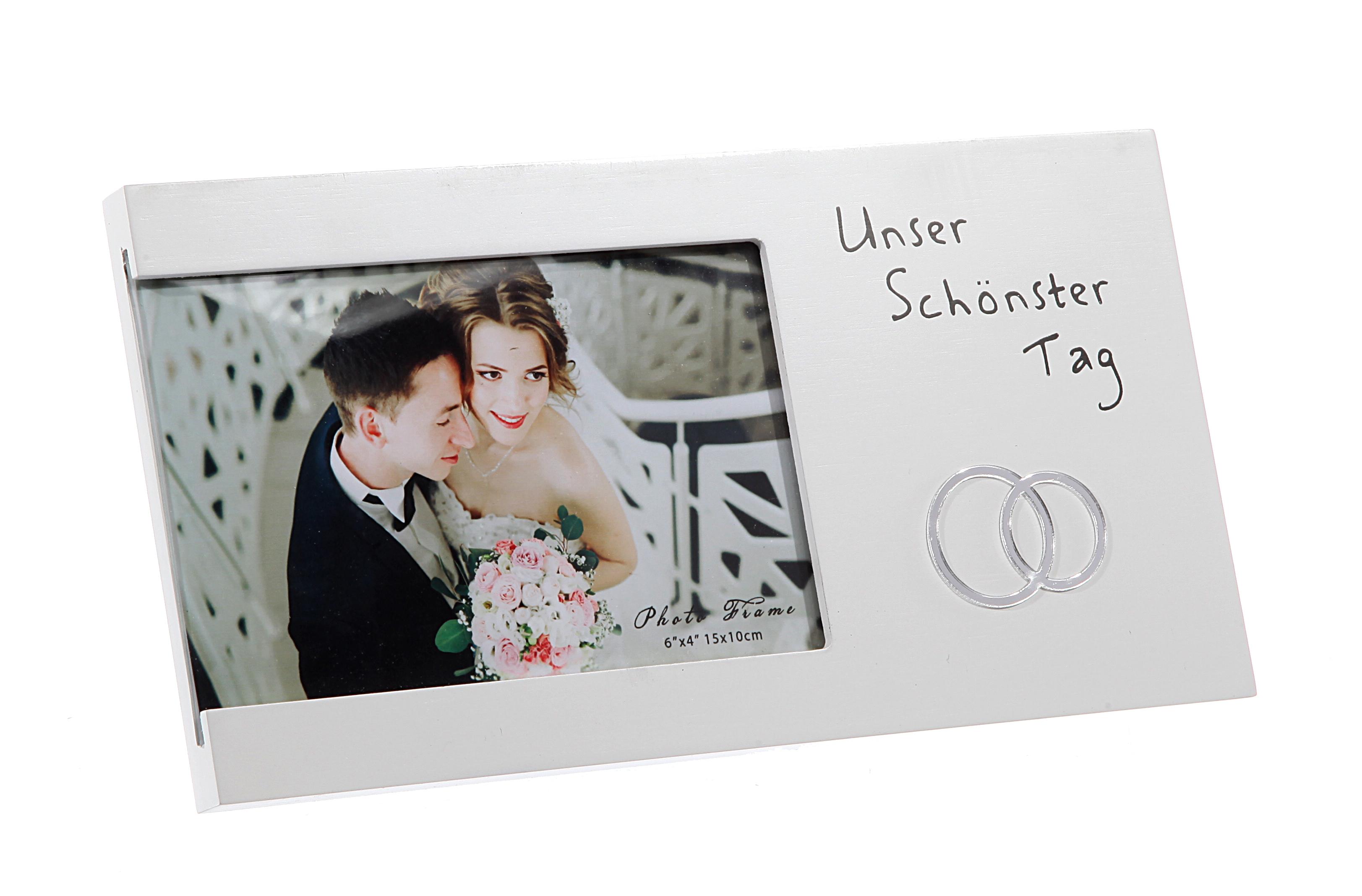 BILDERRAHMEN FOTO SPRUCH Unser schönster Tag Hochzeit Jahrestag ...