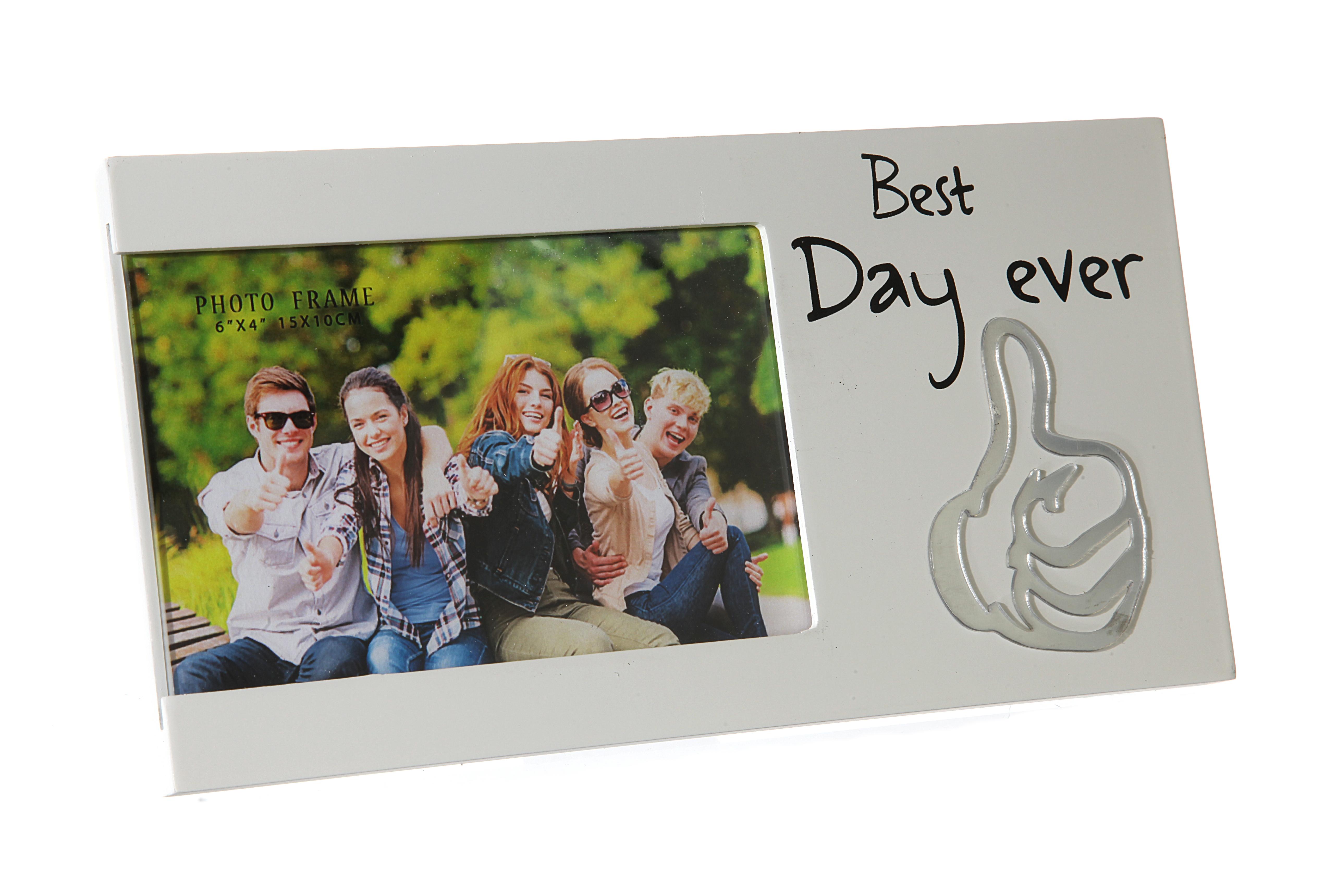 Bilderrahmen Foto Spruch Best Day Ever Familie Freunde Geschenk | eBay
