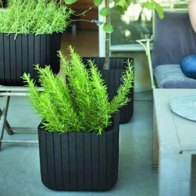 50 liter w rfel blumentopf pflanzk bel holzoptik. Black Bedroom Furniture Sets. Home Design Ideas