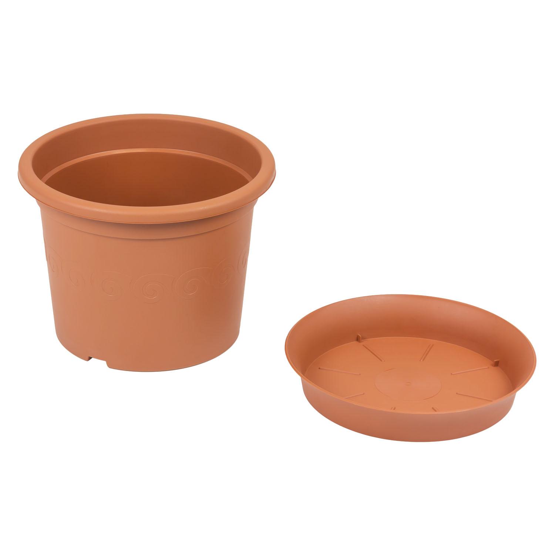 brauner Blumentopf mit Untersetzer 0,4 bis 23,5 Liter Gartentopf ...