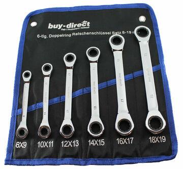 6 tlg Set Ratschenringschlüssel 8-19mm Gelenk Maulschlüssel Ratschenschlüssel