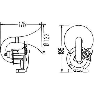 air comprimé Fanfare Hella 3 PA 004 206-031 pression atmosphérique Fanfare