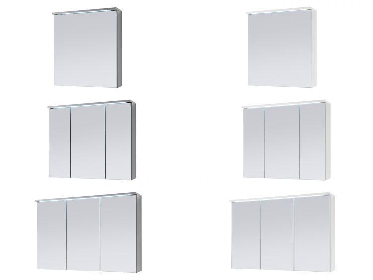 Spiegelschrank Badschrank Spiegel Badhängeschrank Badmöbel Kirkja I Titan//Weiß 60 cm möbelando