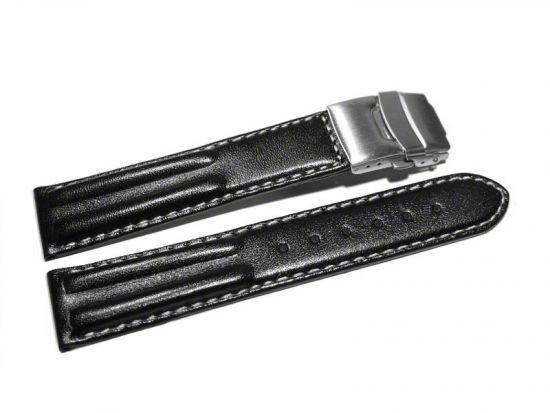 schwarz 18,20,22,24 mm Uhrenarmband mit Faltschließe Leder Doppelpolster