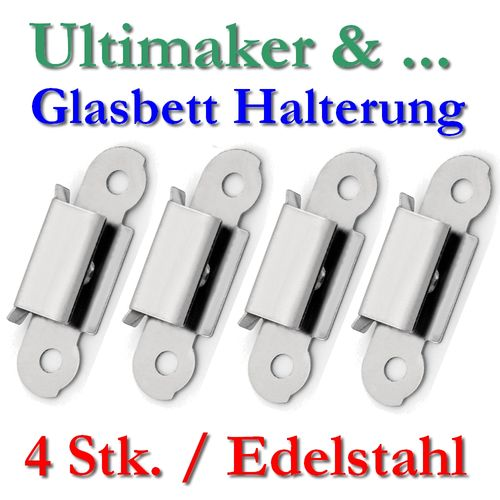 4x glas heizbett halterung klammer edelstahl klip um2 um2go extended 3d drucker ebay. Black Bedroom Furniture Sets. Home Design Ideas