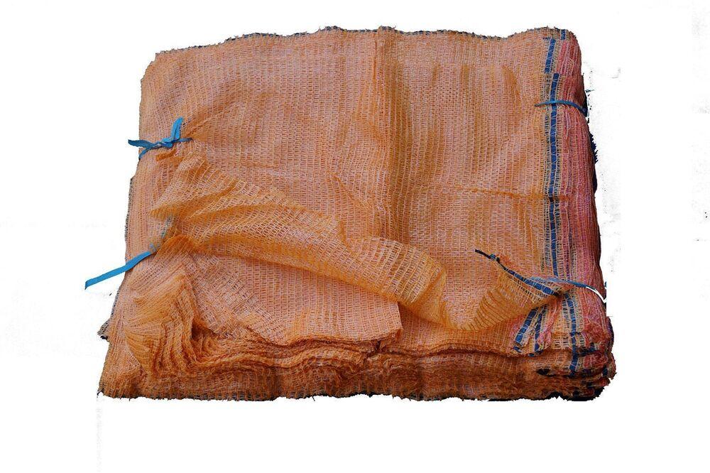400 Stück Raschelsack Kartoffelsack goldgelb ohne Zugband für 12,5kg 410x630mm