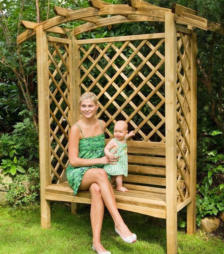 pergola rosenbogen mit bank holz torbogen rankgitter impr gniert 180x85x208cm ebay. Black Bedroom Furniture Sets. Home Design Ideas