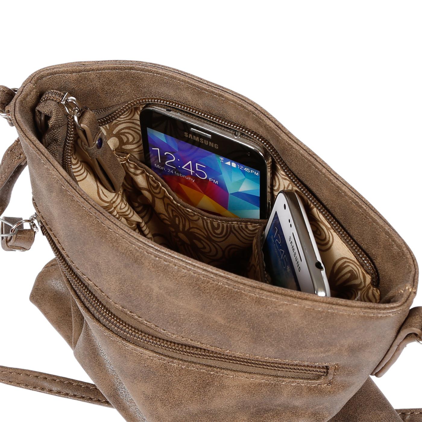 Damen-Handtasche-Umhaengetasche-Schultertasche-Tasche-Leder-Optik-Schwarz-Weiss Indexbild 20