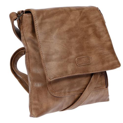 0709a0f54638b LLUPP Umhängetasche Schultertasche mit Überschlag Braun. Damen Handtasche  ...