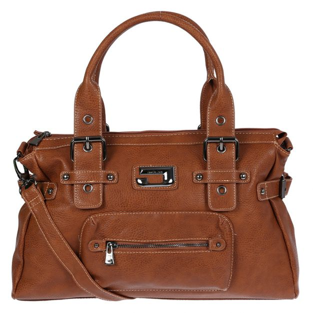 19dee3a15d0ac ... Damentasche Schultertasche Tasche Shopper Bag Uni Leder Optik Cognac.  Artikelbild. klassische Damen Handtasche von Jennifer Jones ...