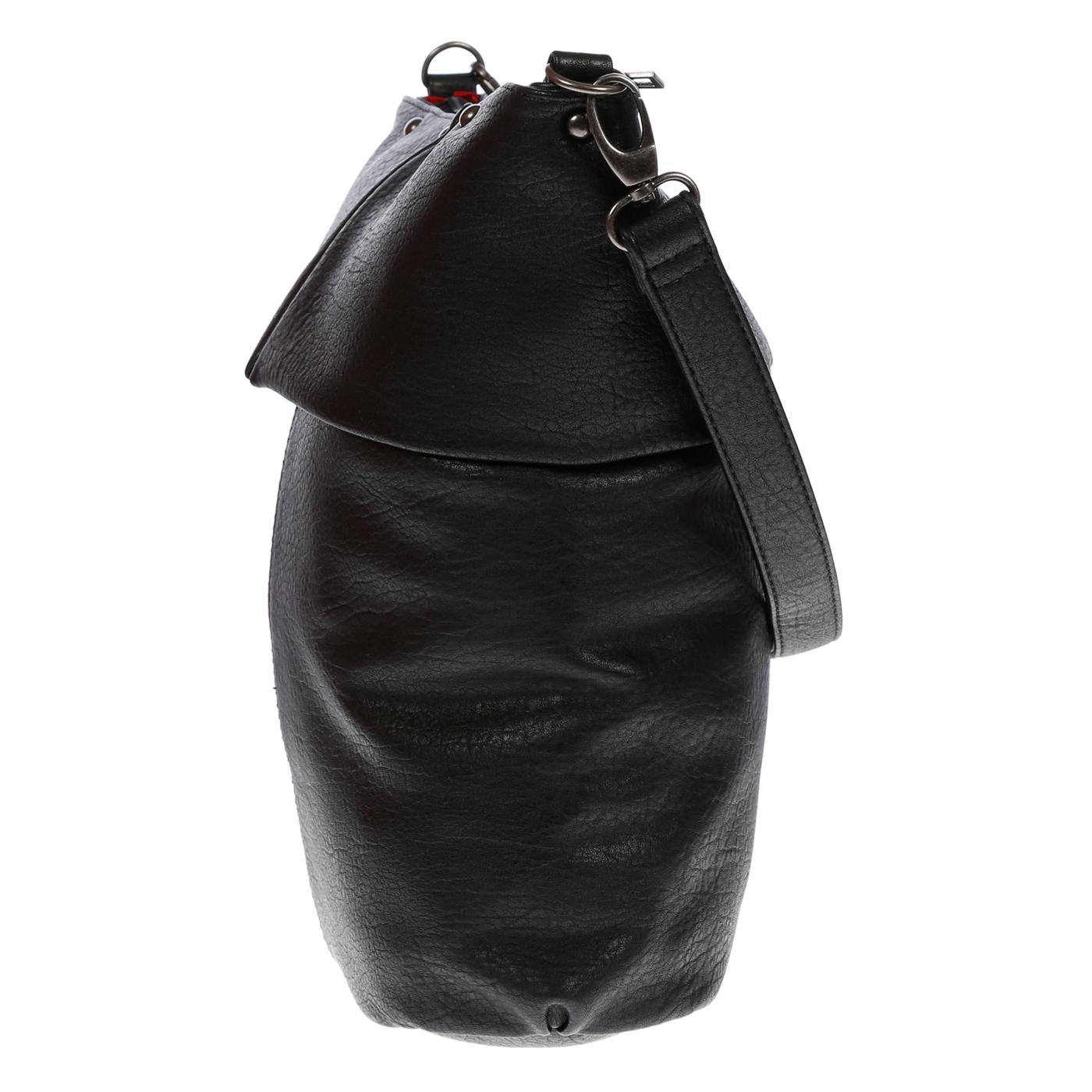 Damentasche-Umhaengetasche-Handtasche-Schultertasche-Leder-Optik-Tasche-Schwarz Indexbild 8