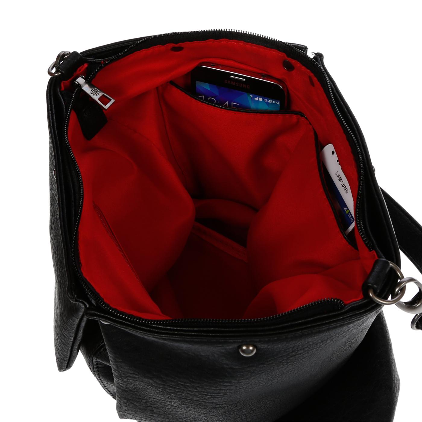 Damentasche-Umhaengetasche-Handtasche-Schultertasche-Leder-Optik-Tasche-Schwarz Indexbild 10