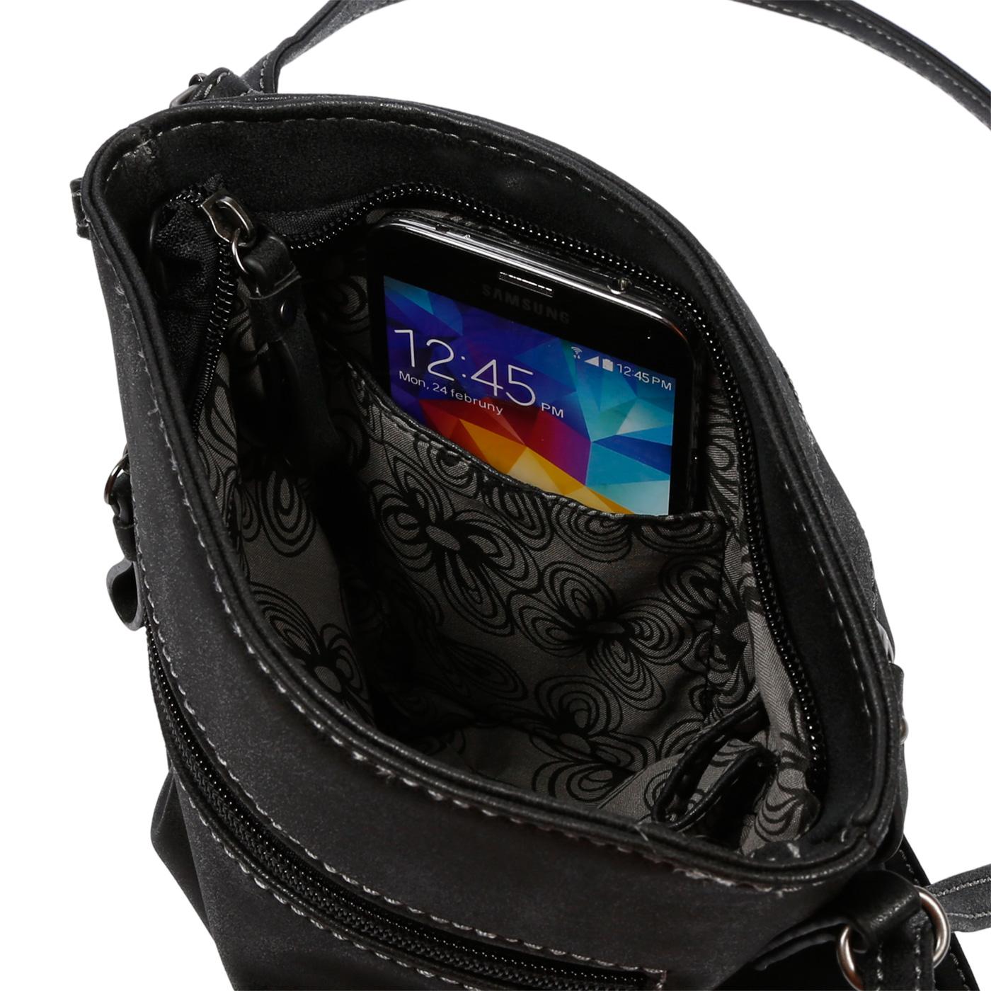 Damen-Handtasche-Umhaengetasche-Schultertasche-Tasche-Leder-Optik-Schwarz-Weiss Indexbild 13