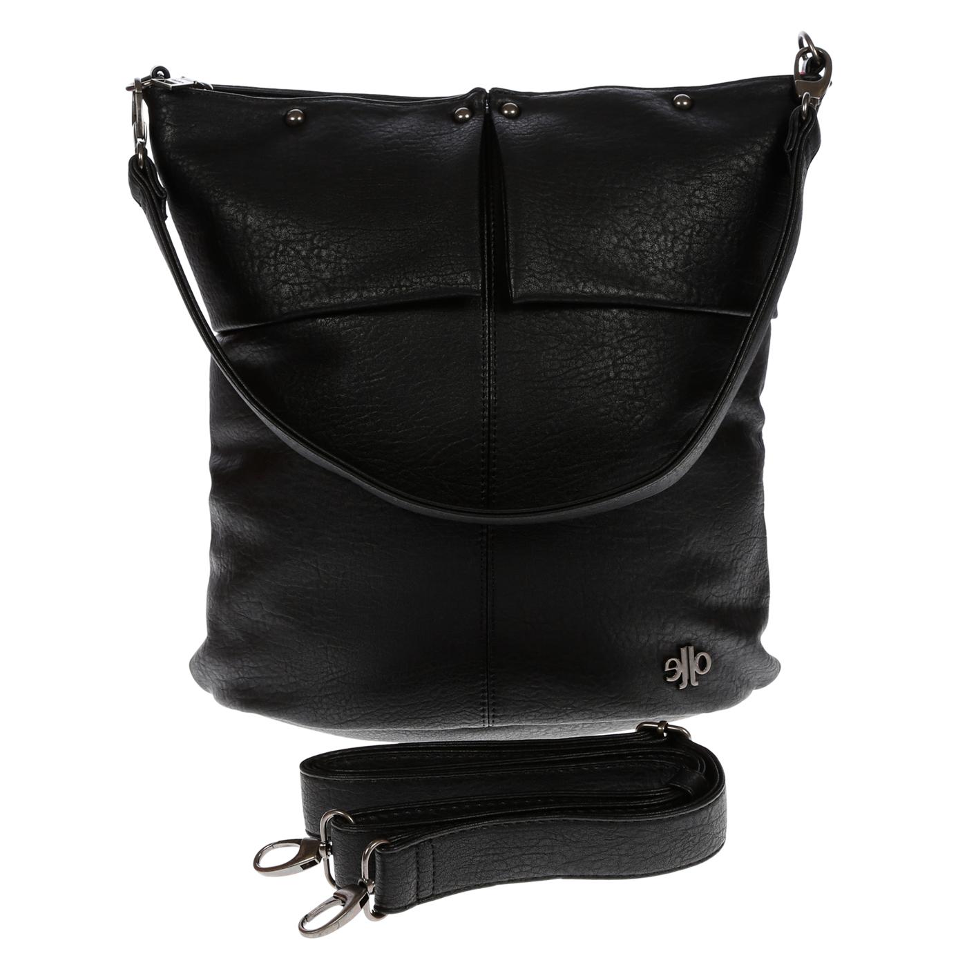 Damentasche-Umhaengetasche-Handtasche-Schultertasche-Leder-Optik-Tasche-Schwarz Indexbild 6