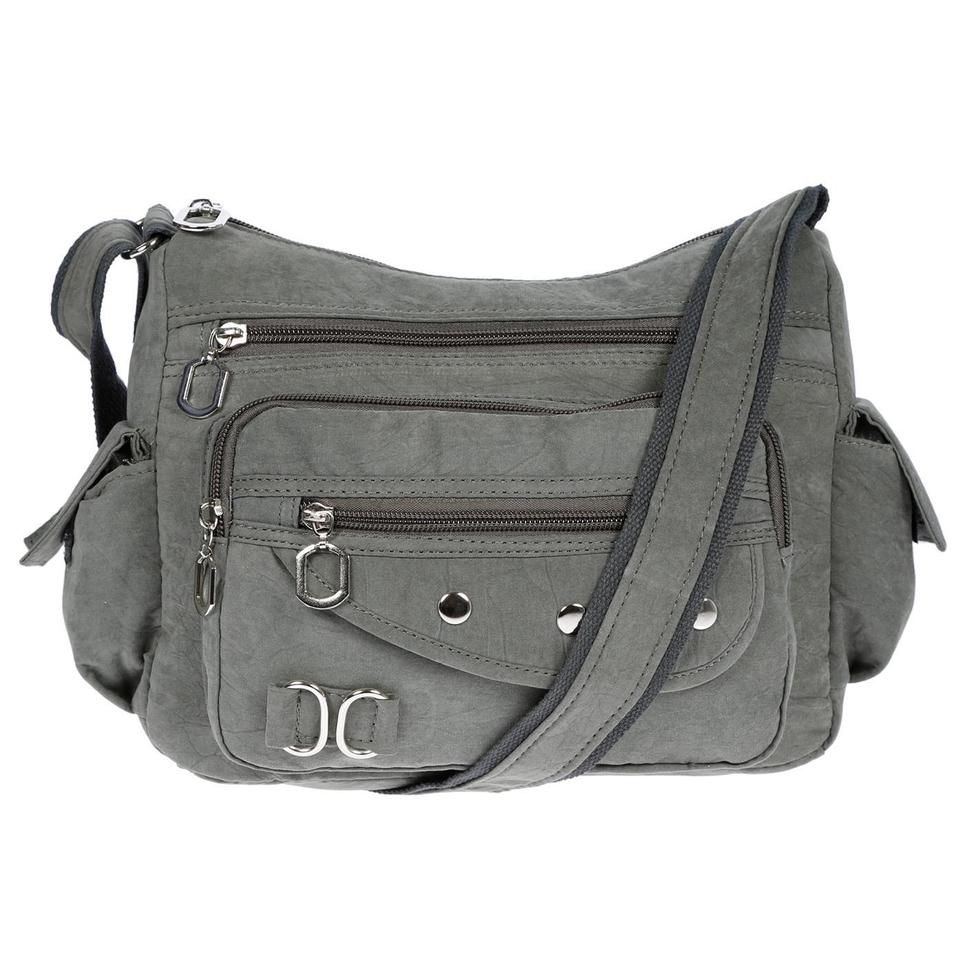 Damenhandtasche-Schultertasche-Tasche-Umhaengetasche-Canvas-Shopper-Crossover-Bag Indexbild 15