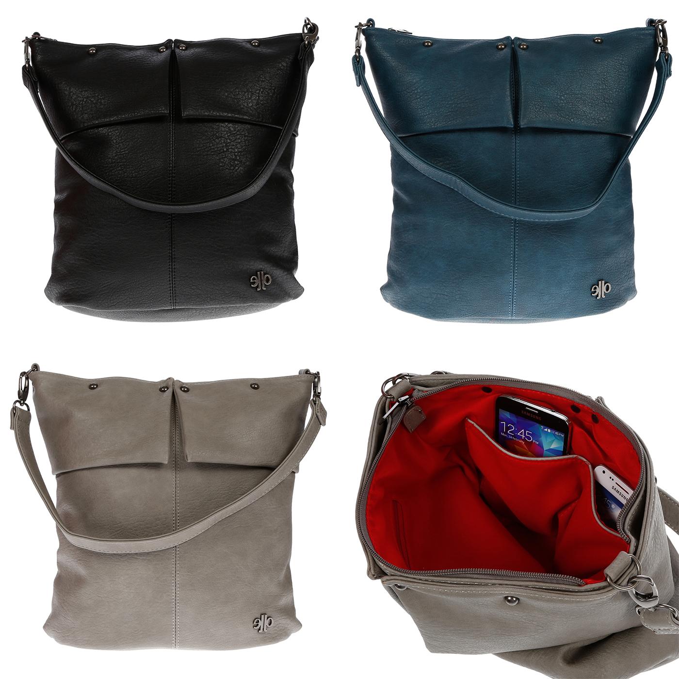 Damentasche-Umhaengetasche-Handtasche-Schultertasche-Leder-Optik-Tasche-Schwarz Indexbild 11