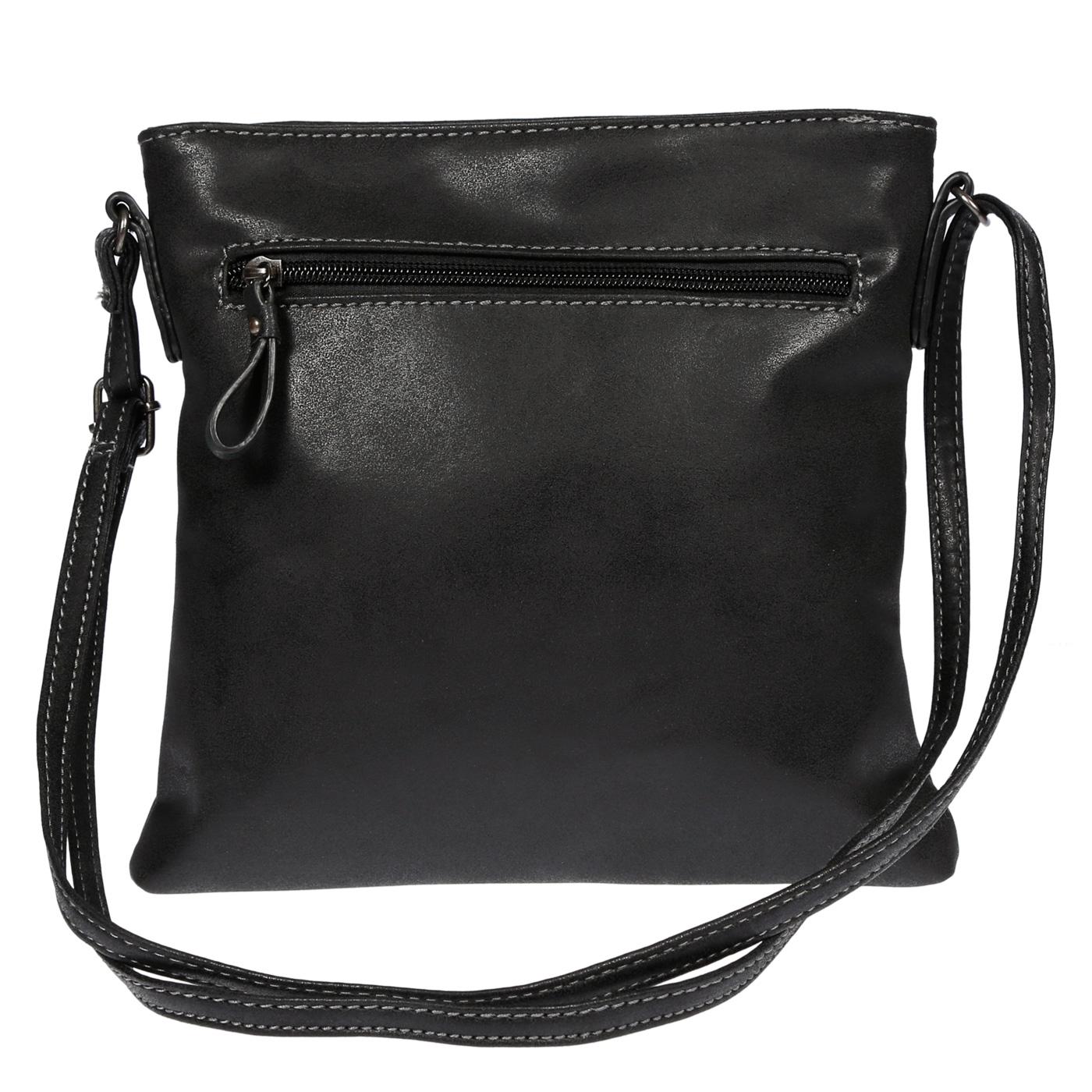Damen-Handtasche-Umhaengetasche-Schultertasche-Tasche-Leder-Optik-Schwarz-Weiss Indexbild 12