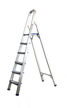 alu leiter haushaltsleiter mit 6 stufen stehleiter klappleiter klapptrittleiter ebay. Black Bedroom Furniture Sets. Home Design Ideas