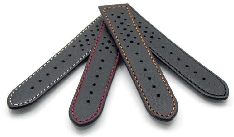 Französisches Softlederband Modell Sportiva schwarz-blau 18 mm-gelocht