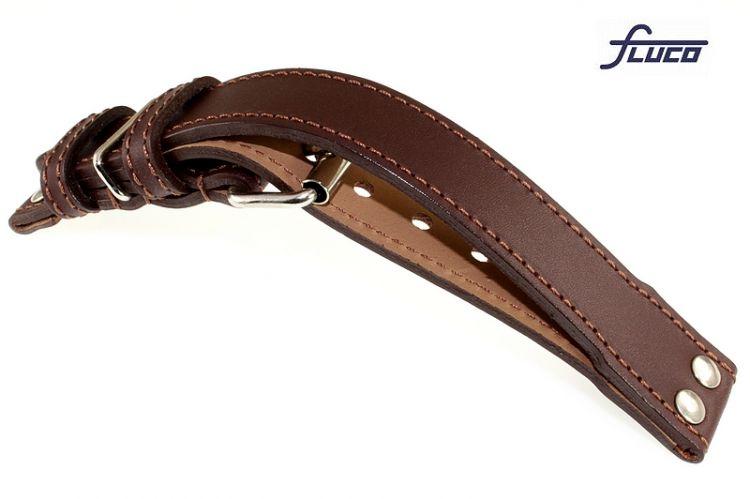 Fluco Veloursleder Uhrenarmband Modell Oslo-XS mocca 22 mm Handarbeit