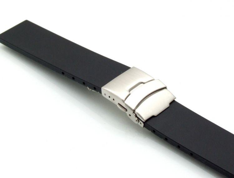 Silikon Uhrenarmband Modell Rally-Chrono schwarz 22 mm