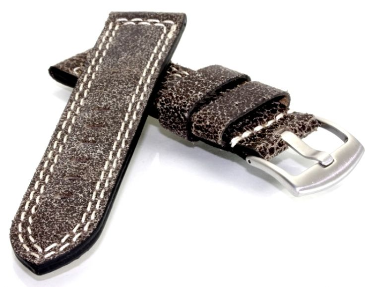Uhrenarmband 8 mm breit grau Uhrenband 2 Stege Kalbsleder Armband Leder