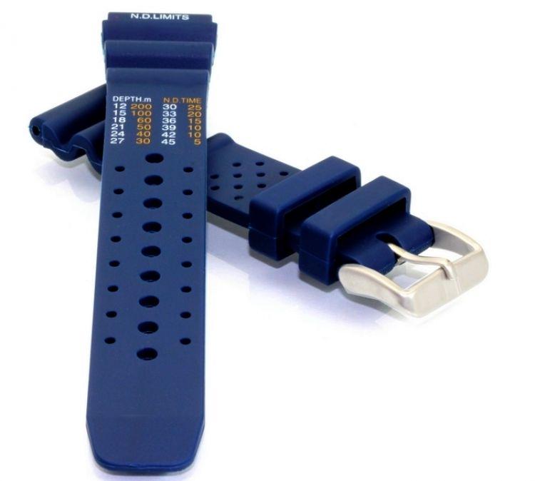 silikon diver uhrenarmband mit tauchtabelle blau 20 mm. Black Bedroom Furniture Sets. Home Design Ideas