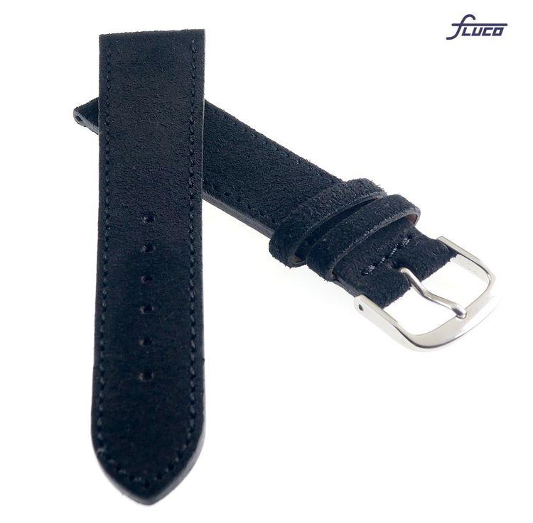 Fluco Uhrenarmband Modell Record-XL schwarz 18 mm Handarbeit