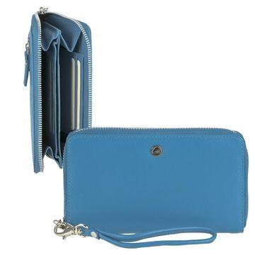 e8c735ac0034a Geldbörse mit Handyfach 14x7cm Damenbörse Geldbeutel Portemonnaie blau