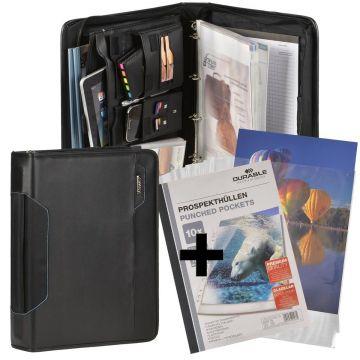 Konferenzmappe A4 grau Ringbuchmappe Orgamappe Tabletfach 100 Prospekthüllen
