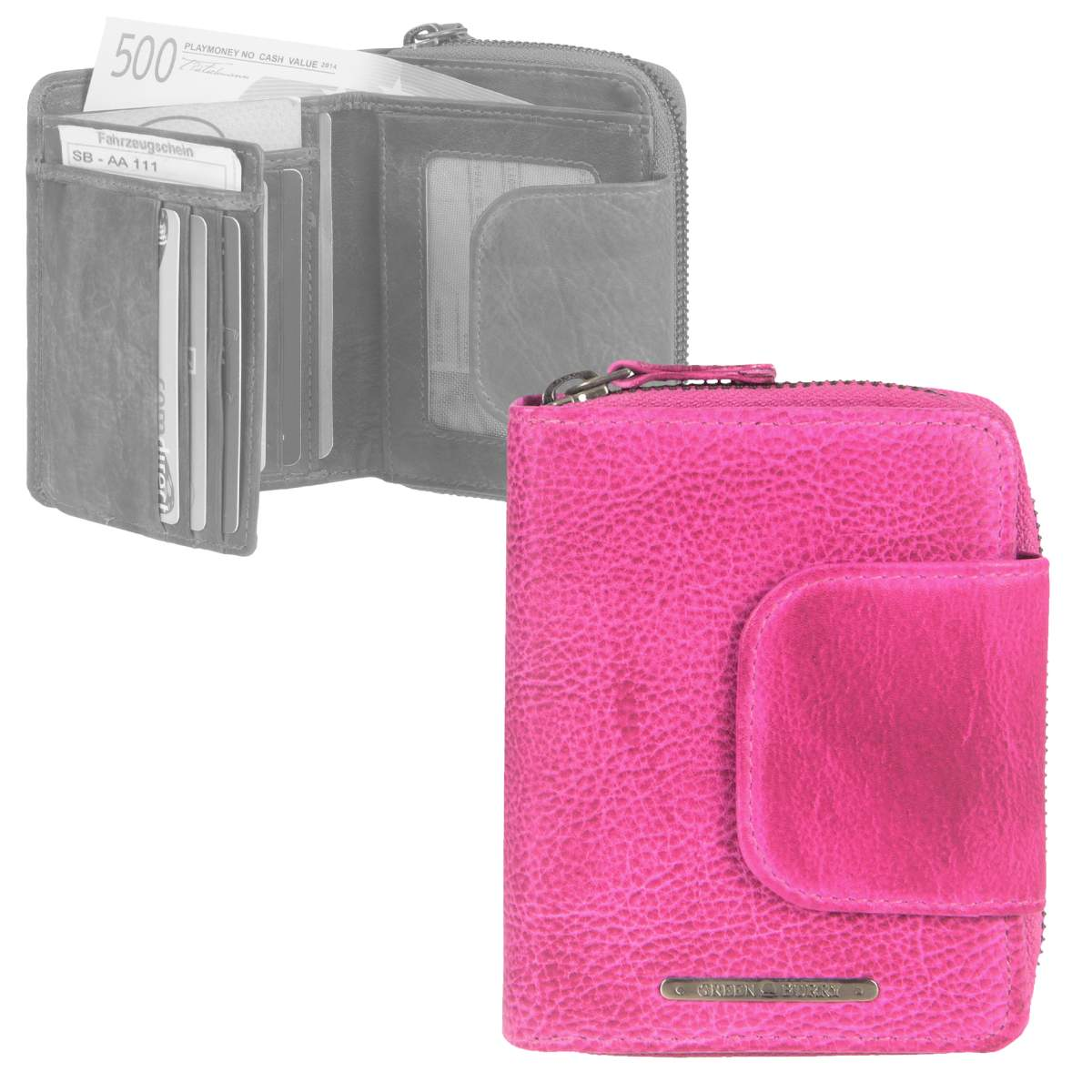 224baab11d606 Das Bild wird geladen Geldboerse-Leder-pink-Damenboerse-Geldbeutel- Portemonnaie-Greenburry-Dirty-