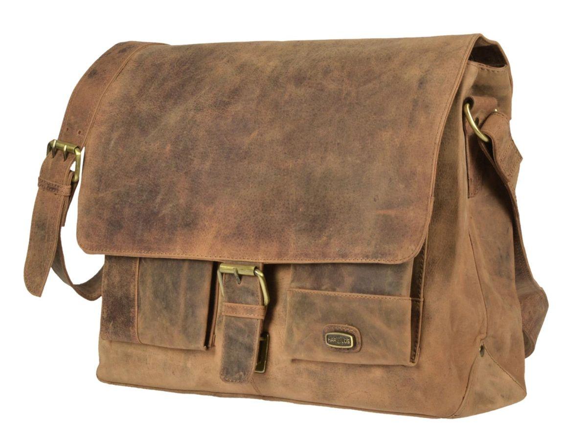 ada9ed88554c1 Leder Umhängetasche Schultertasche Tasche Messenger Bag antikbraun Harolds