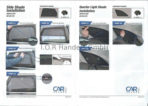Audi A4 Avant B9 ab 11//2015 Sonnenblenden 2-teilig Sonnenschutz Blenden f