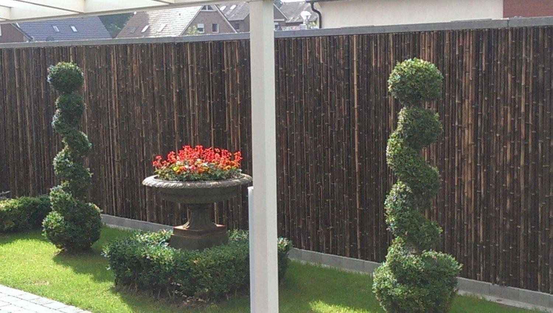 Details zu Sichtschutz BALI BLACK Bambus Garten Gartenzaun Windschutz  Sichtschutzmatte
