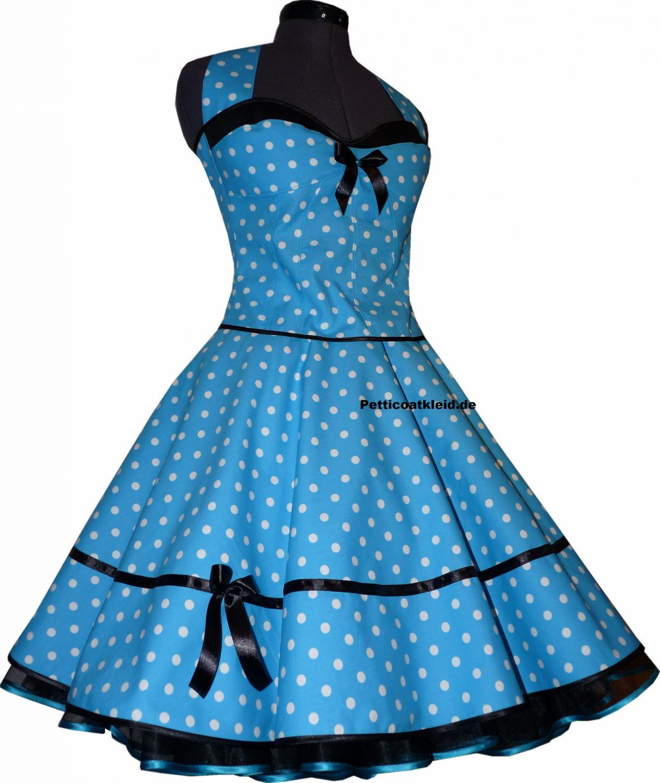 50er tanz kleid punkte petticoat türkis grün blau orange