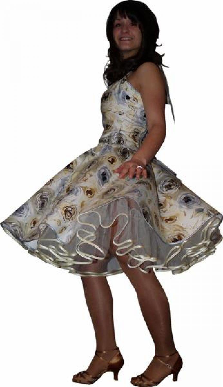 50er Jahre Petticoat Kleid creme Rosen Blumen ...