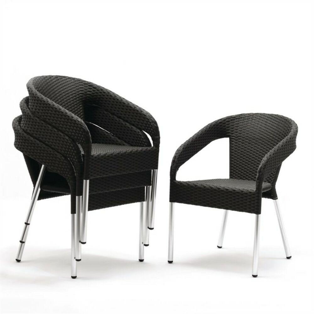 Sedia in Plastica Rattan, Nero (Scatola 4)   eBay
