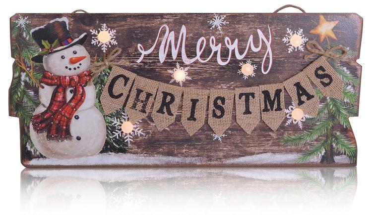 Weihnachtsbilder Merry Christmas.Details Zu Chiccie Led Weihnachtsbild Merry Christmas Weihnachtsmotiv Wandbild Wanddeko