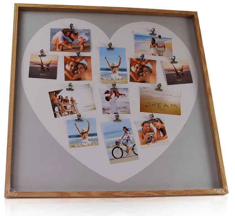 CHICCIE Bilderrahmen Holz Foto Collage Herz mit 13 Foto-Klammern ...