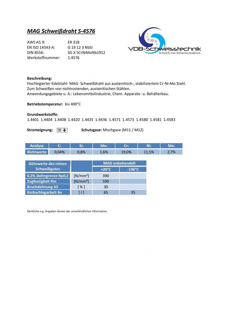 Schweißdraht Edelstahl 1.4576 MIG MAG Draht V4A ER318 4576 318 ...