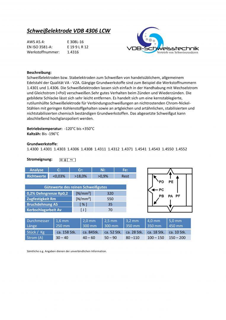 4306 LCW VA V2A 0,5 Kg Schwei/ßelektroden Edelstahl 1.4316-1,6 x 250 mm