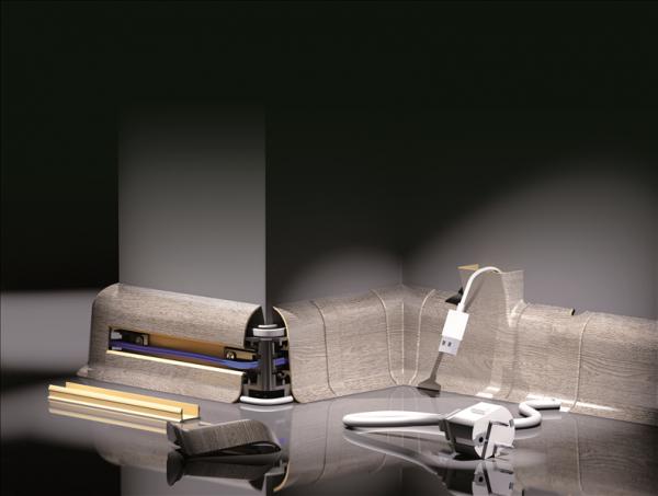 10 100m sockelleisten fu leisten in wei und grau laminatleiste mit kabelkanal ebay. Black Bedroom Furniture Sets. Home Design Ideas