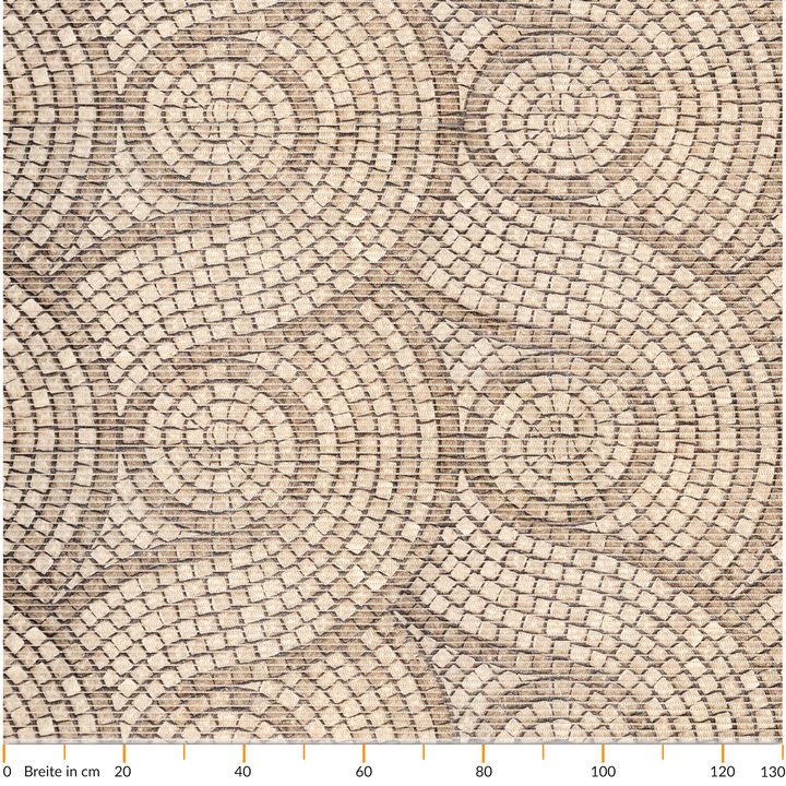 Badematte Badvorleger Badteppich Mosaiksteine Steine in Beige 130cm Antirutsch