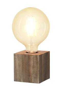 Kub Tisch Leuchte Lampe Holz weiß E27 Sockel Deko Lese Würfel Cube Design
