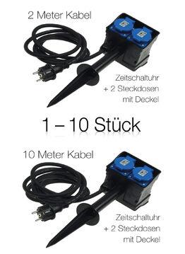 2-fach Gartensteckdose mit Erdspieß Outdoor IP44 3m Kabel Zeitschaltuhr Timer
